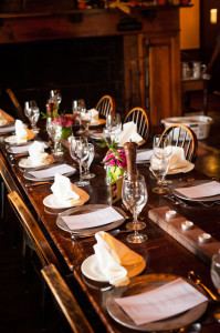Tables set for reception dinner