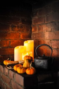 """""""Something old"""" open-hearth fireplace vignette"""