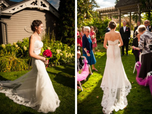 Here comes the bride down the garden aisle, to the pergola
